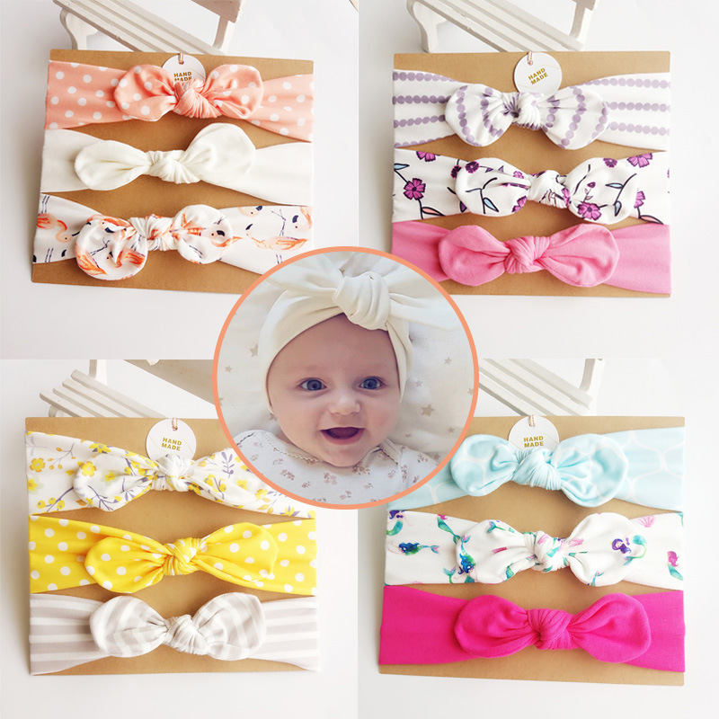 3Pcs/Set Baby Bows Headband Cute Rabbit Ear Elastic Bebe Headband Cotton Bowknot Hairband Headwear Flower Girls Hair Accessories