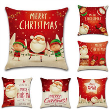 1 PC Cute Christmas Red Line Pillow Case Merry Xmas Elk Pattern Throw Cover Bedroom Office Chair Seat Pillowcase 45x45cm