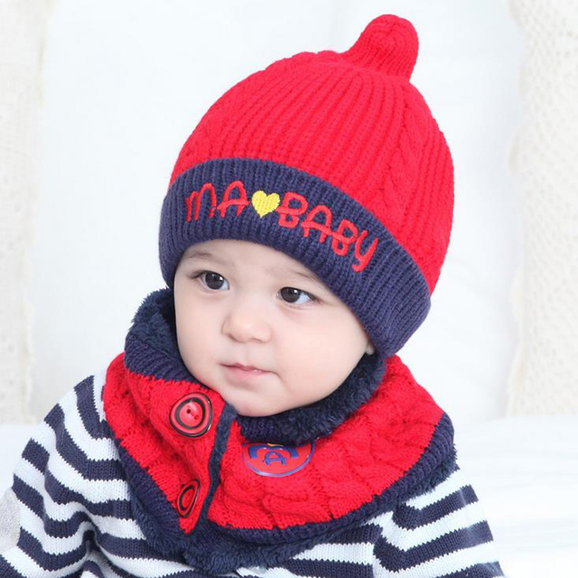 d3a3b6460450c Hot Sale New Lovey Winter Warm Baby Boys Girls Hat Scarf Set Cute Knitted  Cotton Hats for Toddlers Baby Hat 1-3 Years XL219