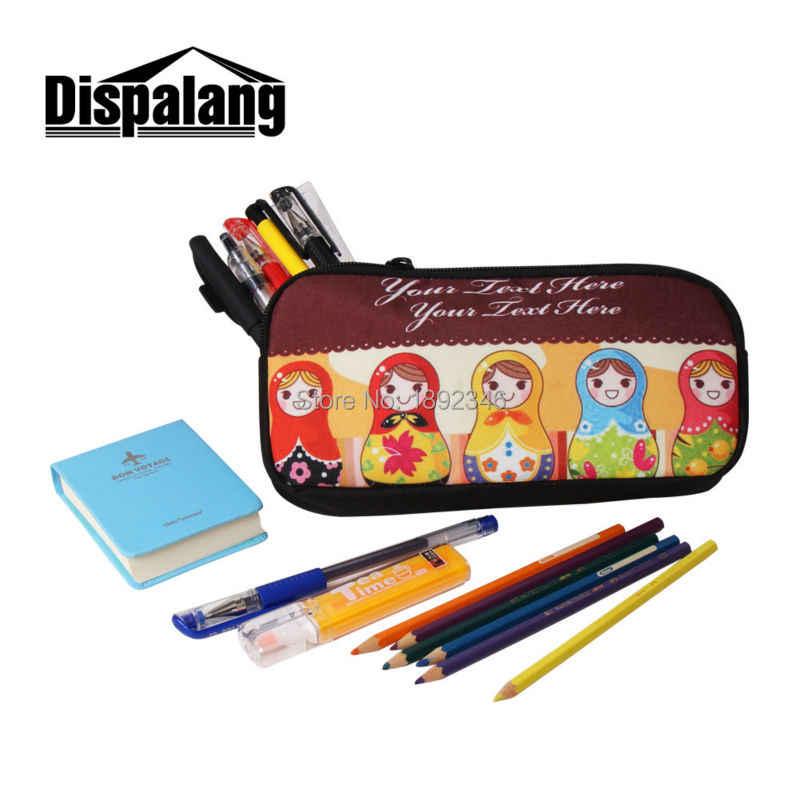 O animal imprimiu o saco de lápis fresco dos casos cosméticos para meninos zippered escola lápis casos para a escola conjunto da pena para o escritório