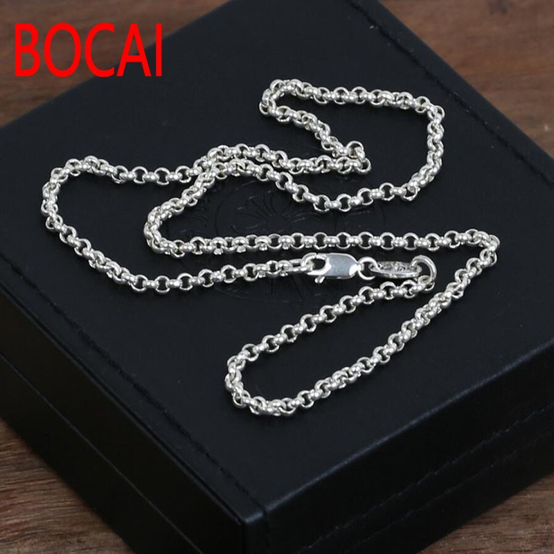 4mm chain 100% 925 sterling silver necklace men pendant women 925 fine Vintage jewelry New Thai silver 925 sterling silver women lapis beads yellow chalcedony lotus leaves pendant necklace rope chain thai silver jewelry ch057271