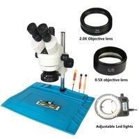 По прежнему бинокулярного глаза 7X 45X пайки Тринокулярный стереомикроскоп с большой настольная подставка для резист для пайки IC телефон рем