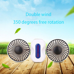 USB Couples Portable Fan Rechargeable Battery 2 Motors Fans Mini USB Desk Electric Fan