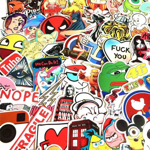 Us 628 Neue 100 Stücke Keine Wiederholung Funny Car Styling Jdm Aufkleber Supreme Overwatch Youtube Logo Autocollant Marke Diy Aufkleber Auf Laptop