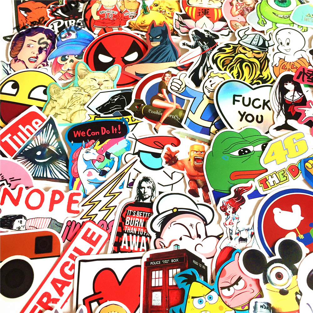 New 100pcs no repeat funny car styling jdm stickers for Auto collant mural