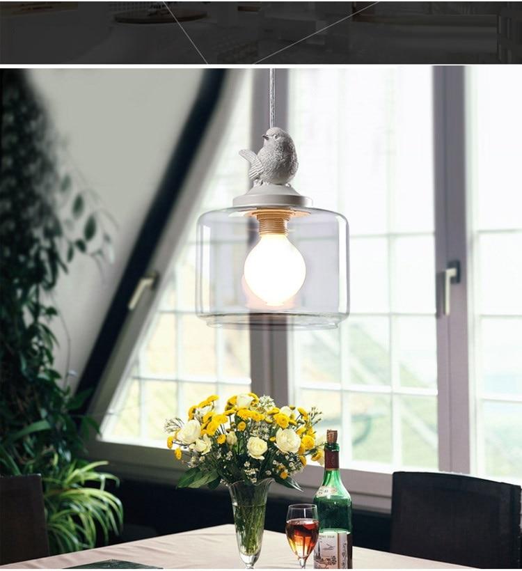 LuKLoy Resin Bird Pendant Lamp Light Nordic Glass Lights Lighting for Loft Kitchen Dining Room Ceiling Bedroom Decoration (6)