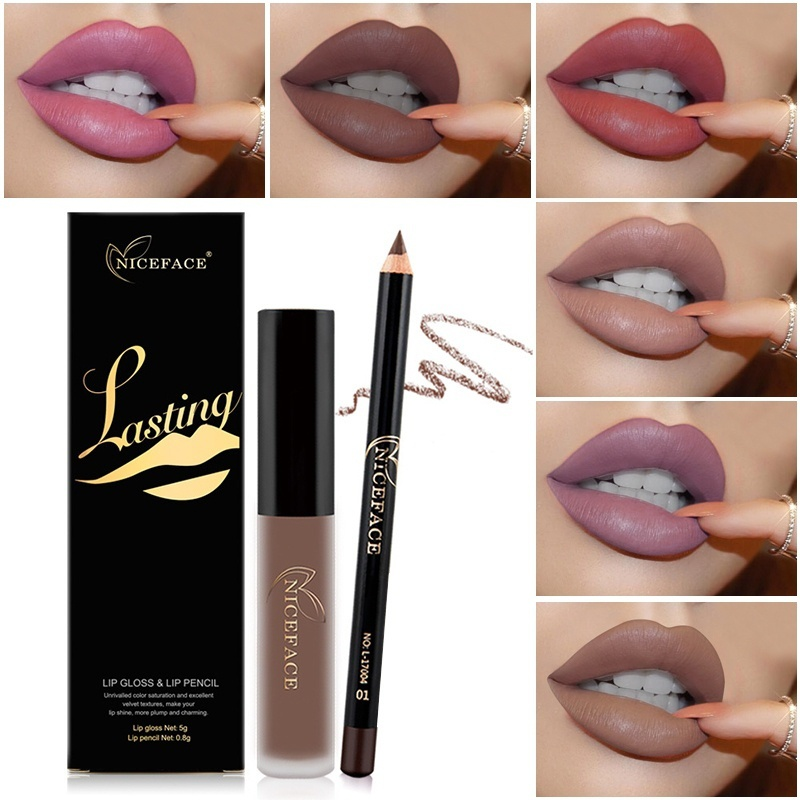 Lipstick Sets Long Lasting Matte Liquid Lipstick+Velvet Lips Pencil Makeup Waterproof Matt Batom Nude Liquid Lip Gloss
