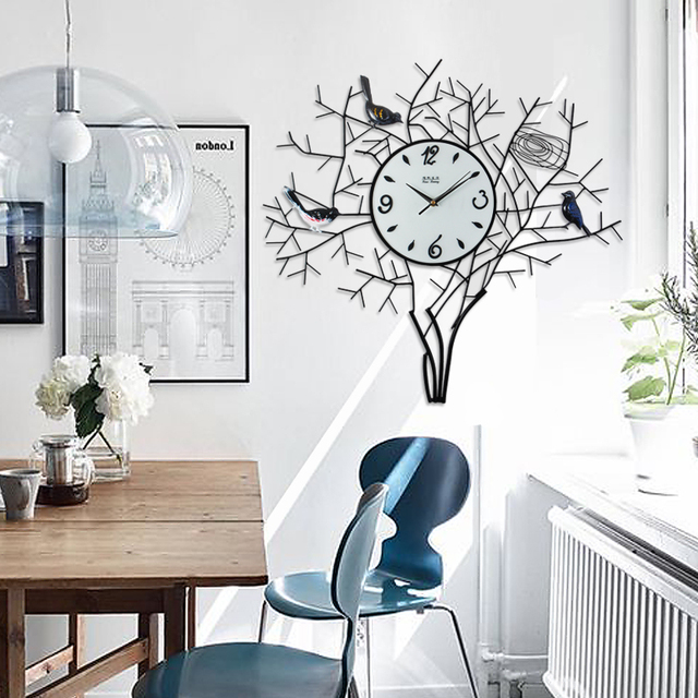 De woonkamer wandklok creatieve moderne minimalistische tuin art ...