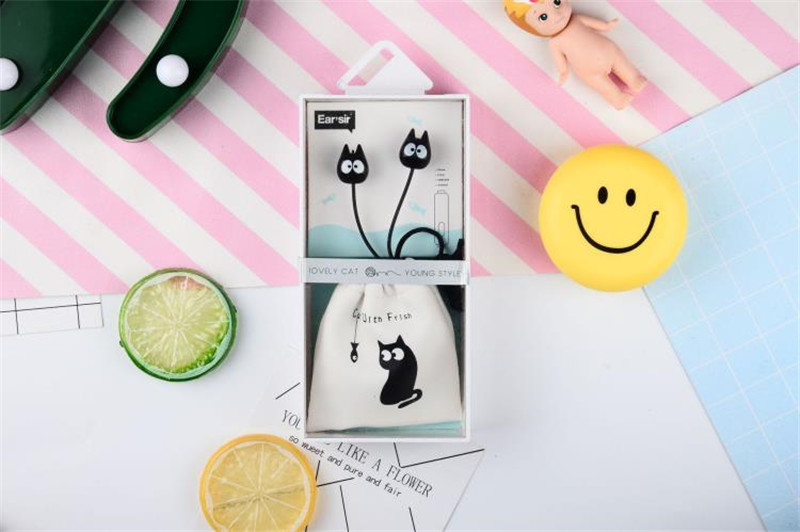 Chiclits Earphone Cute cartoon cat 3.5 mm stereo with mic In-ear headset for iPhone Xiaomi Girls Kids student for Mp3 Mp4 gifts (8)