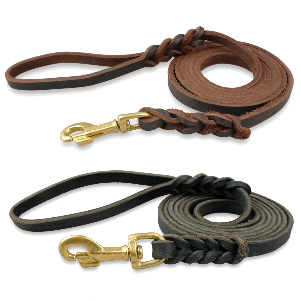 Genuine Leather Dog Leash K9 Dogs Long Leashes Braided Pet Walking Training Leads Brown Black Colors For Medium Large Pet