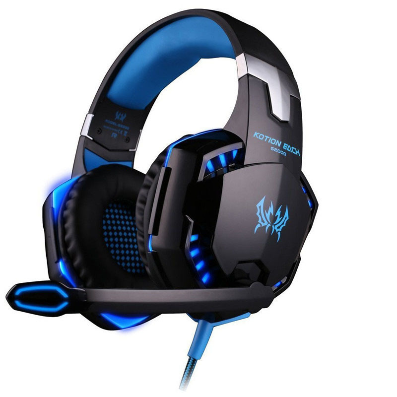 Best PC Gamer casque EACH G2000 Stereo Hifi Gaming Headphones With Microphone Dazzle Lights Glow Game Music Headset fones each g8200 gaming headphone 7 1 surround usb vibration game headset headband earphone with mic led light for fone pc gamer ps4