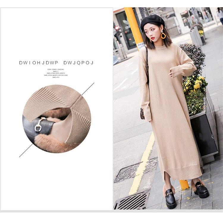1fc0807e3dfd0 Long Sleeve Maxi Dress Women Autumn Winter Lazy Wind Casual Loose Sweater  Dress O-Neck Bottom Slit Long Knitted Dress robe pull