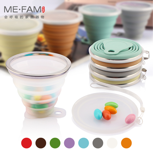 ME.FAM 270ml Stainless Steel Silicone Folding Cup With Lanyard / Dustproof Cover Lid Outdoor Coffee Cups Retractable Travel Copa