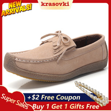 цены Krasovki Loafers women Flats Genuine Suede Leather Soft Female Shoes Tassels  Moccasins Slip on shoes For Ladies Slipony