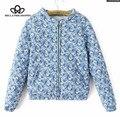 2015 nueva otoño invierno pequeño de color azul y blanco porcelana étnico de la vendimia de la chaqueta salvaje