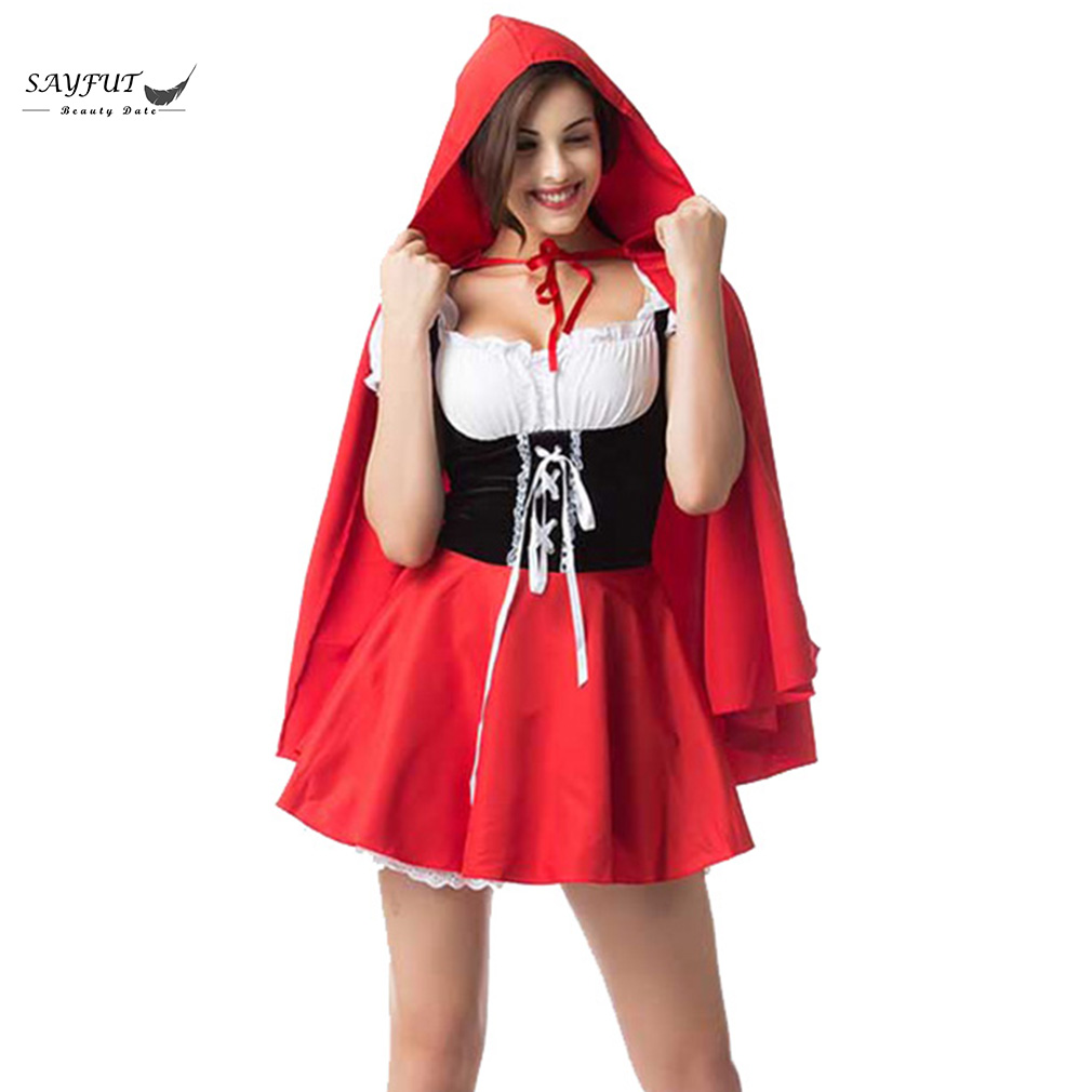 SAYFUT Halloween Costumes For Women Sexy Cosplay Little Red Hood Cloak And Dress Fantasy Game Uniforms Fancy Costume Outfit