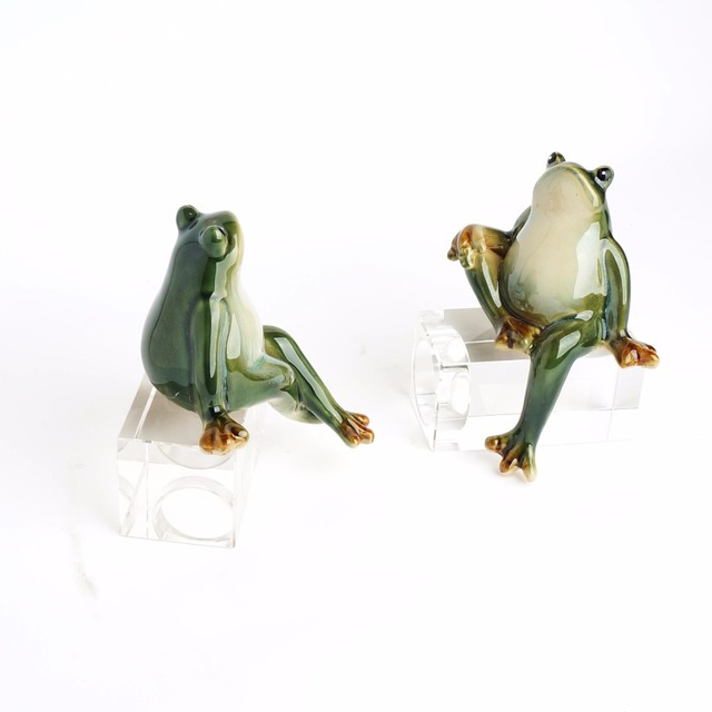 2pc Pair China Ceramic Decoration Lover Frog Home Decor Gift Exquisite Furnishing Handmade Crafts