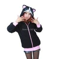 Cat hoodie Cosplay Costume animal ear hoodie sweatshirt with Couple Sweatshirt Cotton Black Coat Women Men Grumpy Cat Sweatshirt