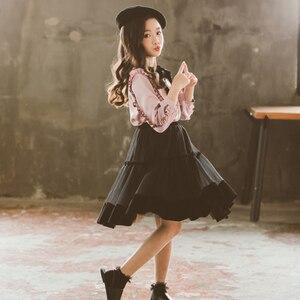 Image 5 - Princesa terciopelo gasa 2 uds conjunto de edad para niñas adolescentes de 4 14 años ropa de primavera Blusa de manga larga + falda conjuntos escolares para Niñas Grandes