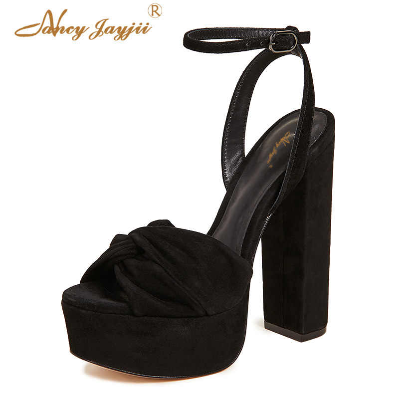 75c602256d Black Suede Platform Sandals Chunky Heels Ladies Shoes For Woman Strap  Fashion Female Classic Big Size