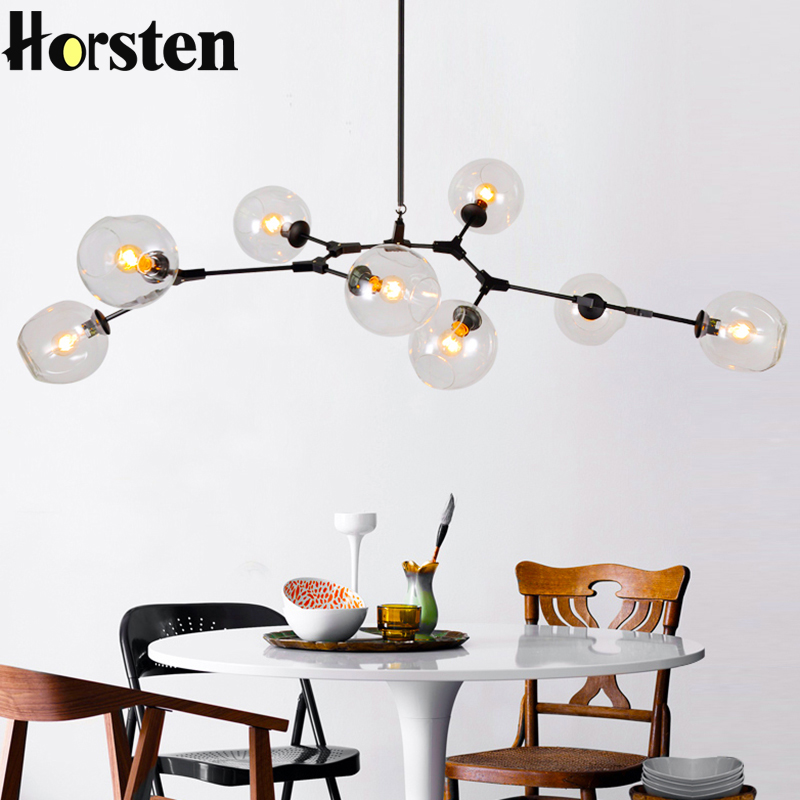 Vintage Loft Industrial Pendant Lights Black Gold Bar Stair Dining Room Glass Shade Suspension Luminaire Pendant
