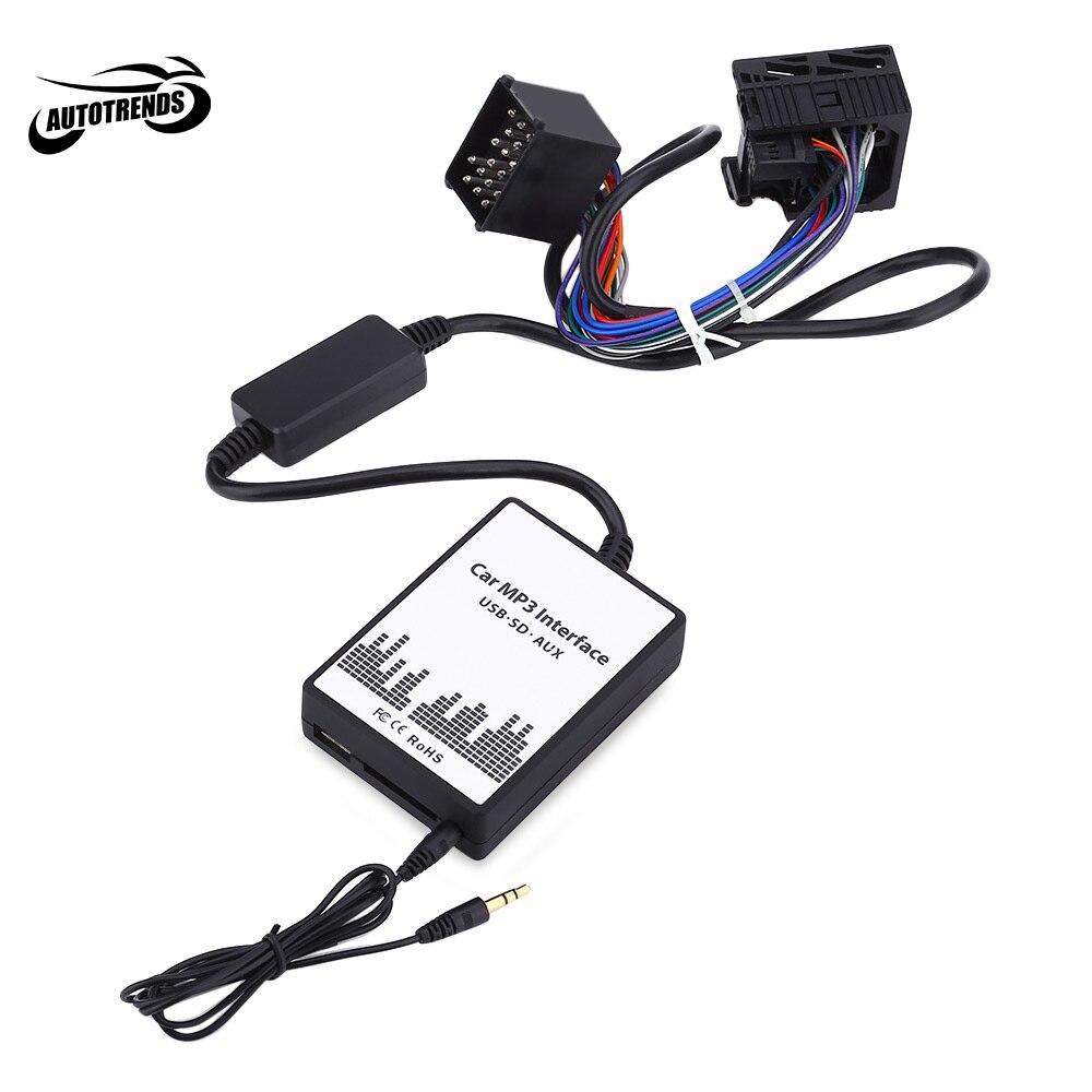 Câble de données USB SD pour Interface Audio MP3 de voiture adaptateur AUX 17 broches changeur de CD Audio numérique pour décodeur BMW/Mini/Rover DC 12 V WMA