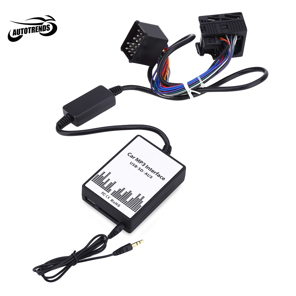 Car MP3 Interface DC 12V USB SD Data Cable AUX Adapter 17 PIN Audio Digital CD Changer for BMW / Mini / Rover