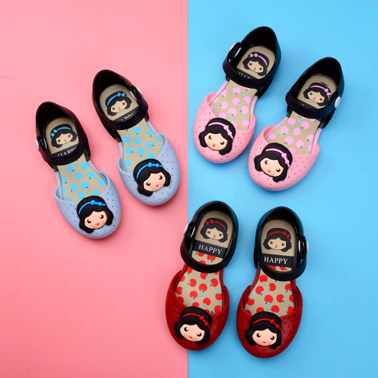 Melissa New Mini Girls sandals snow White Print Shoes Knot Shoes Crystal Jelly Sandals Children Shoes Fish Head Shoes