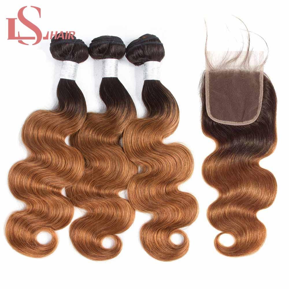 LS Saç gölgeli insan saçı Bal Sarışın Demetleri Ile kapatma frontal1B/30 Remy Brezilyalı Saç Örgü Vücut Dalga Demetleri ile kapatma