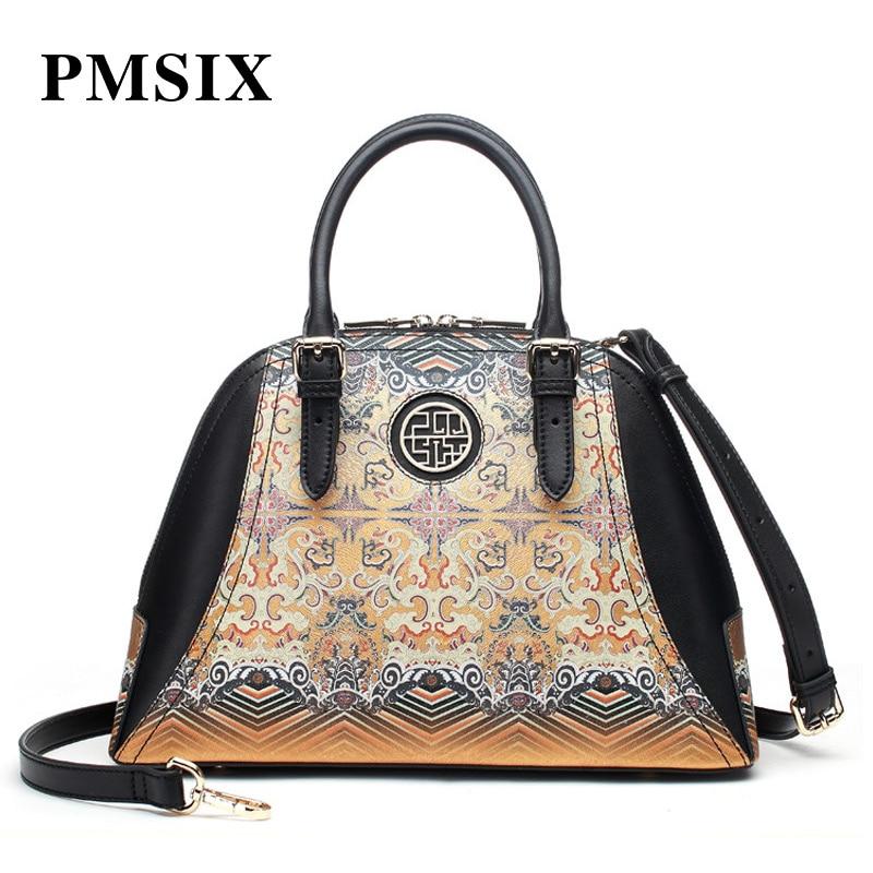 Beliebte Marke Pmsix 2019 Einzigartige Mode Druck Split Leder Tote Tasche Damen Luxus Große Kapazität Handtaschen Patchwork Frauen Schulter Tasche äSthetisches Aussehen