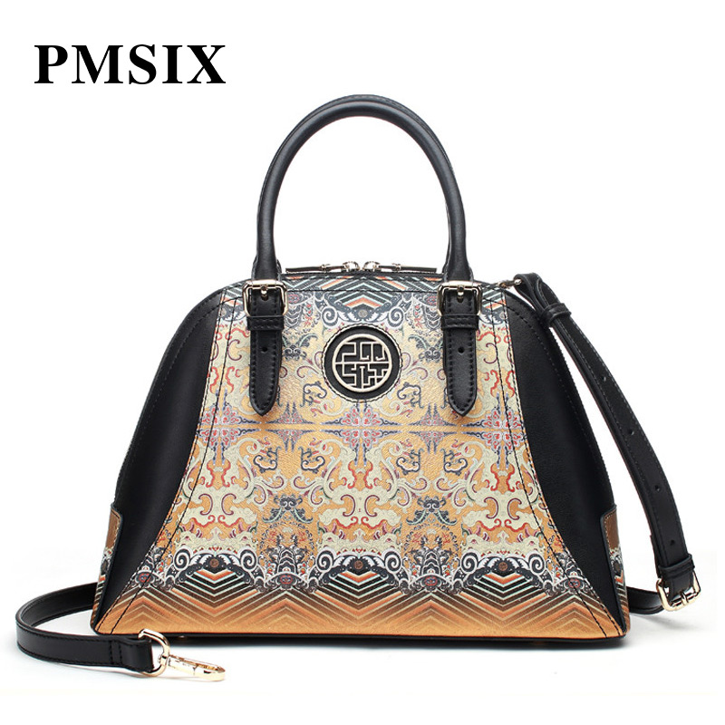 PMSIX casual Vintage Floral Printing Patchwork Hard clutch bag women famous brands casual floral