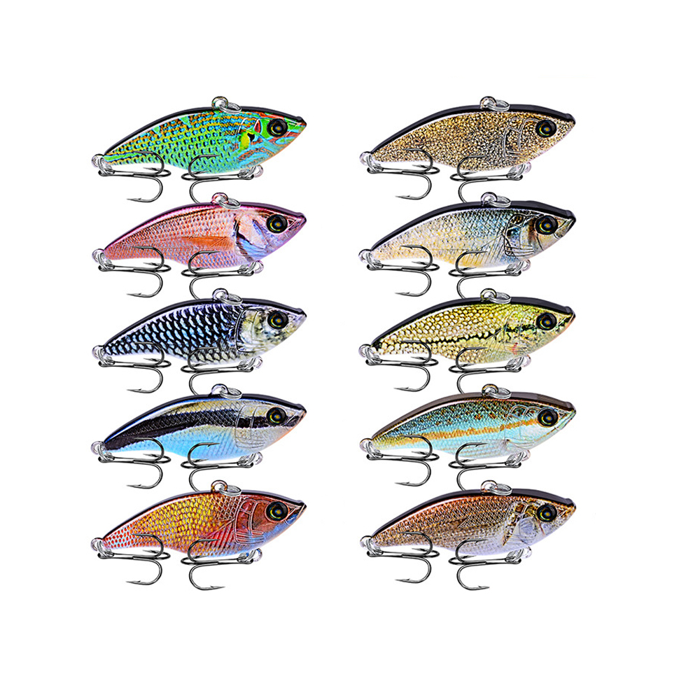 10PC Lot Hard Fishing Lure 10 Colors 5 4cm 2 12 quot VIB Fishing Bait 8 BKB Hook 14g 0 49oz Lure With 8 Hooks 2019 New Arrival in Fishing Lures from Sports amp Entertainment
