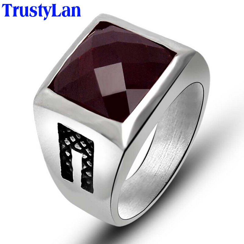trustylan fashion new solid stainless steel mens rings red