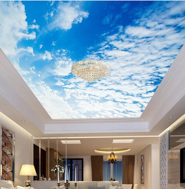 Light Blue Wallpaper Bedroom Bedroom Ceiling Design 2016 Bedroom Ceiling Light Design Beautiful Bedroom Art: Custom Ceiling Wallpaper Blue Sky And White Clouds