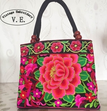 National trend embroidery bags font b Women b font double faced flower embroidered one shoulder bag