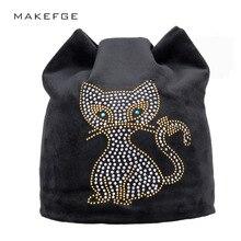 warm women's hats meow Cat ears Skullies Beanies Winter black hat For Hot Girls Beanie With  Pink Rhinestone Female Hats 2017
