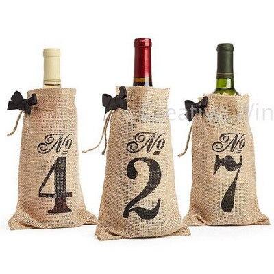 1-10 Pungi Hessian pentru sticle de vin cu numar de nunta Partidul - Produse pentru sărbători și petreceri