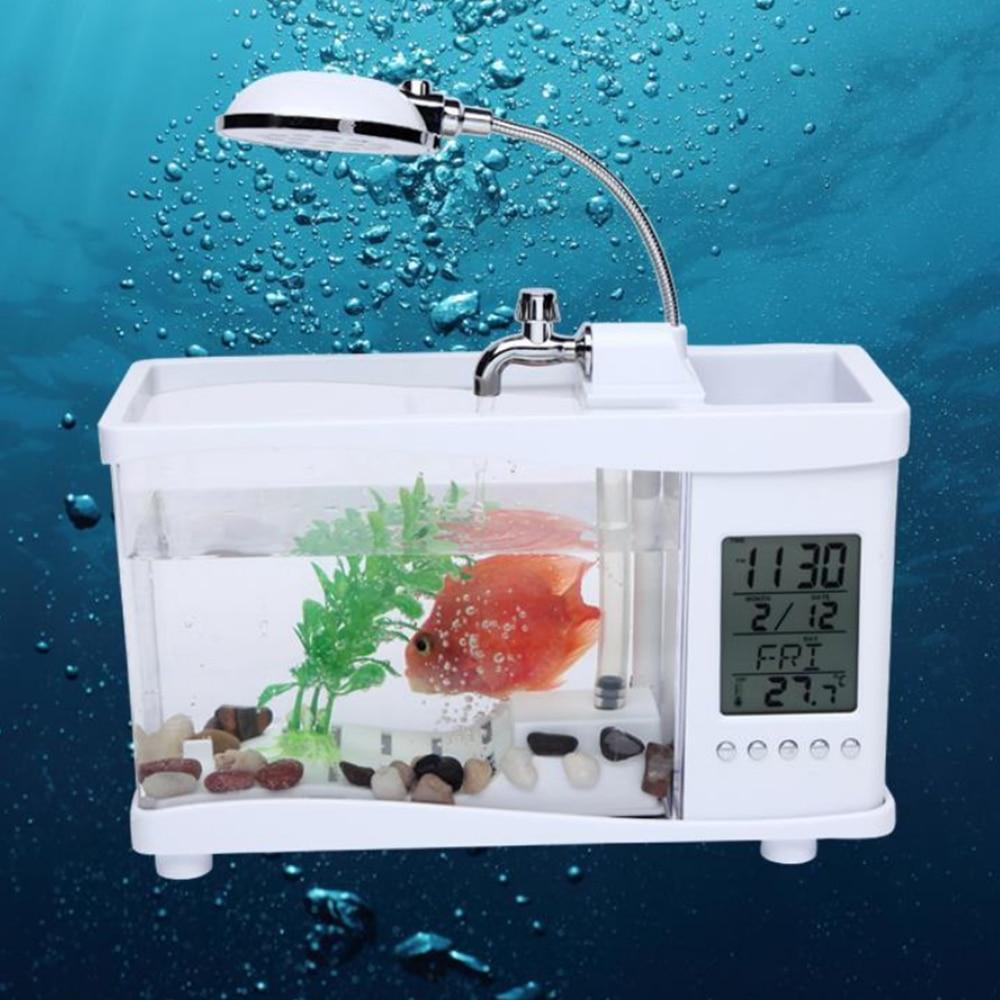 Aquarium fish tank mist maker - 2016 New Usb Mini Fish Tank Desktop Electronic Aquarium Fish Tank With Water Running Led Pump Light Calendar Clock White Black