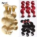Aliexpress UK mel cabelo loiro onda do corpo trama # 613 / 99j / 1b 3 pcs 10 - 32 polegada brown brasileiro extensões cabelo weave curto