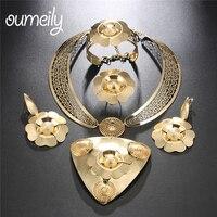 OUMEILY Big Nigerian Beads Necklace Jewelry Set Women Wedding Jewelry Sets for Brides Indian Dubai Turkish Flower Jewelry