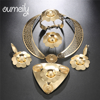 OUMEILY Big Nigerian Beads Necklace Jewelry Set Women Wedding Jewelry Sets for Brides Indian Dubai Turkish Flower Jewelry
