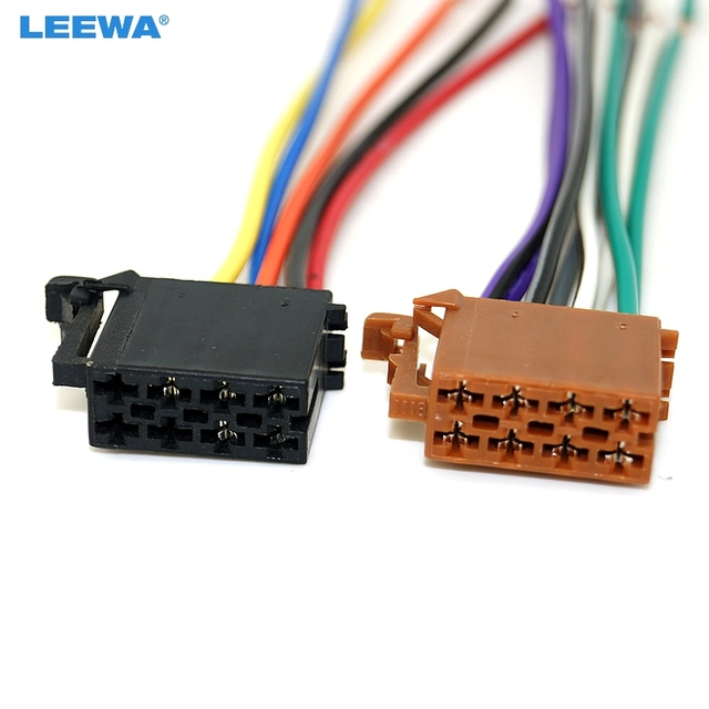 leewa universal male iso radio wire cable wiring harness car stereo adapter  connector adaptor plug for volkswagen/citroen/audi