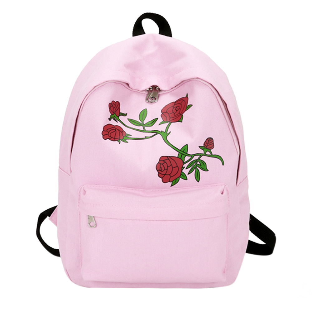 Hot Fashion Women Canvas Flower Embroidery Backpack Girls Casual Large Capacity School Rucksack Female Pink Travel Backpack