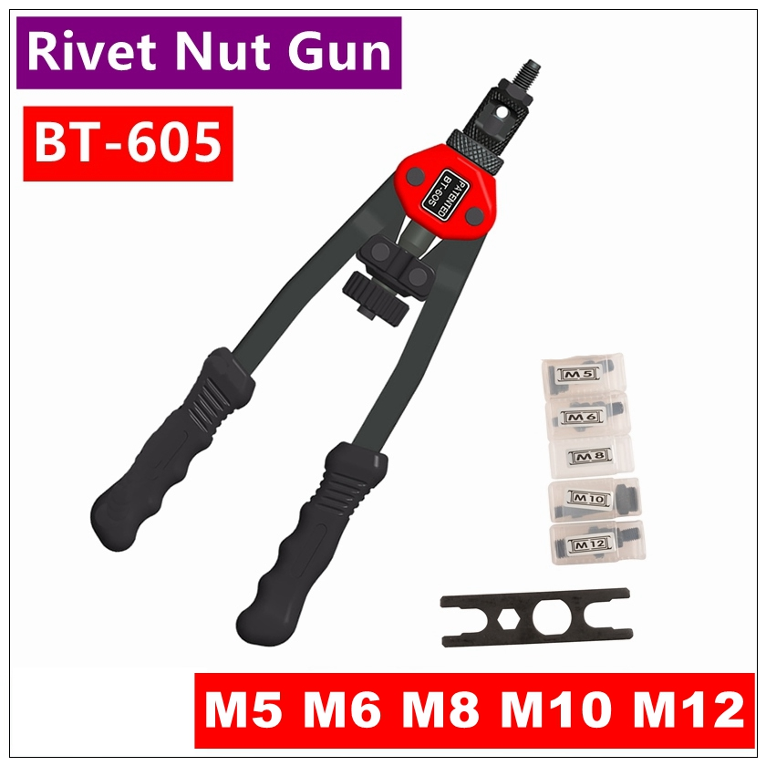 BT - 605 Manual Pull Rivet Nut Gun Riveting Tools M5 / M6 / M8 / M10 / M12