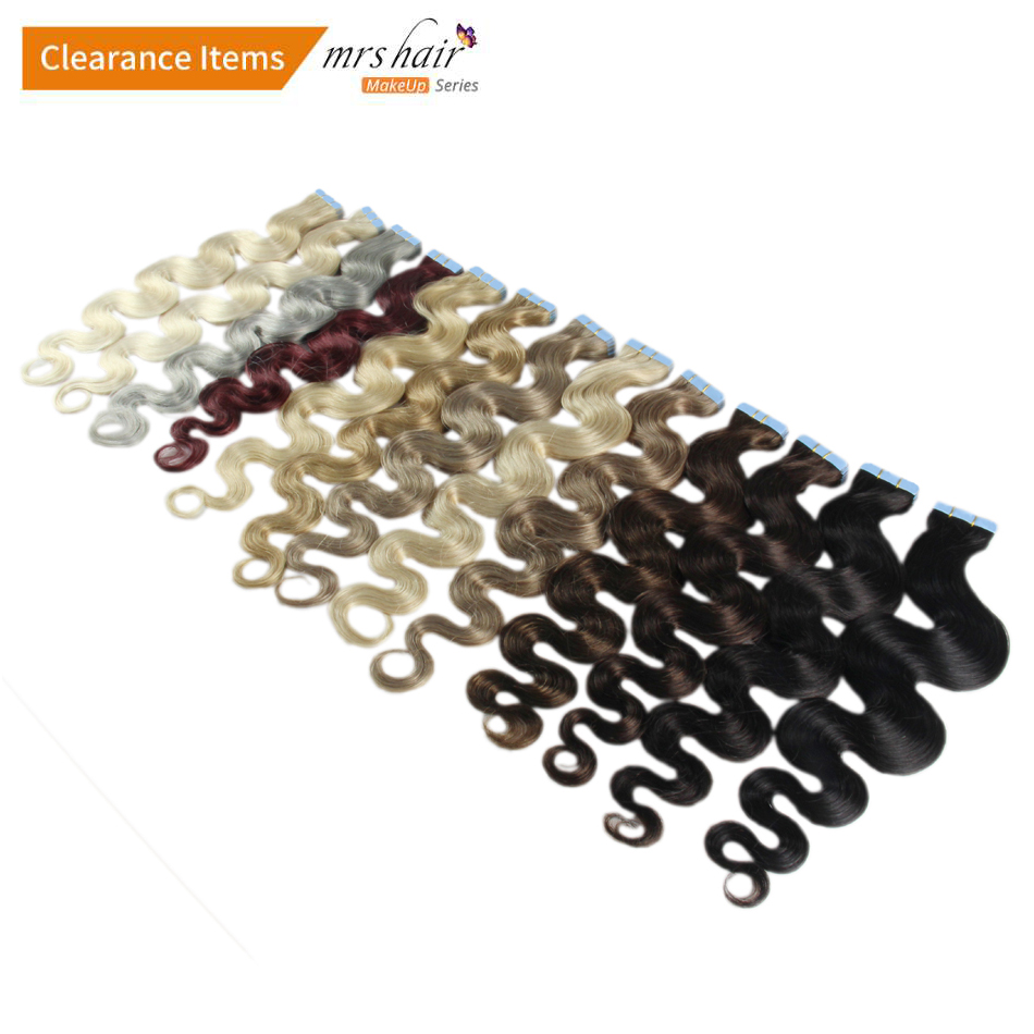 MRS HAIR 18 Body Wave Tape In Human Hair Extensions 20pc Seamless Hair Adhesives Non Remy