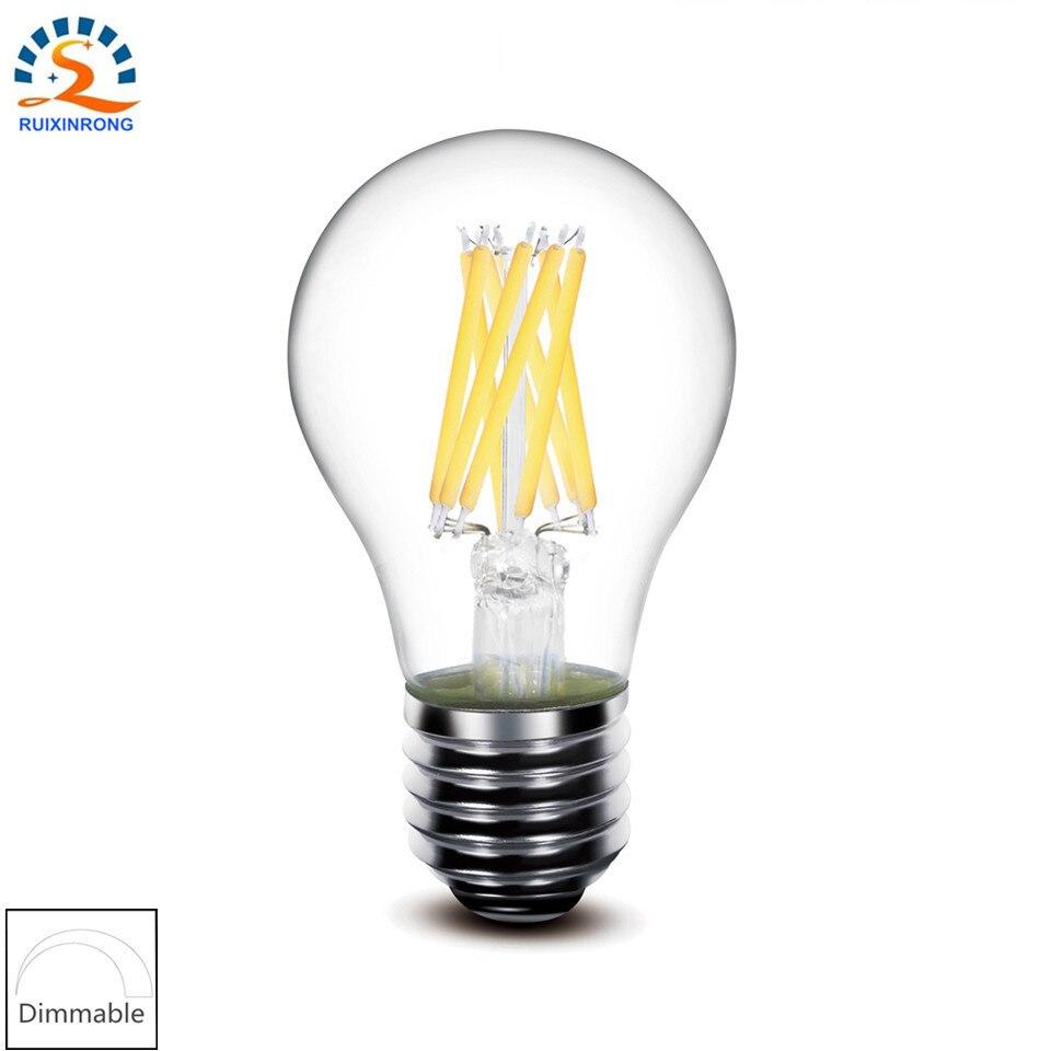 RXR 5pcs/lot E27 E26 4w 6w 8w Warm A19 A60 <font><b>Dimmable</b></font> <font><b>Edison</b></font> <font><b>LED</b></font> Filament Bulb Lamp ampoule <font><b>LED</b></font> Light bulbsAC 110V 220V