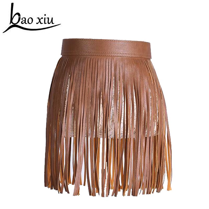 hot sale fashion women Short skirt Faux leather fringed   belt   Tassel   belt   dress decoration Punk cool tide   belt   accessories