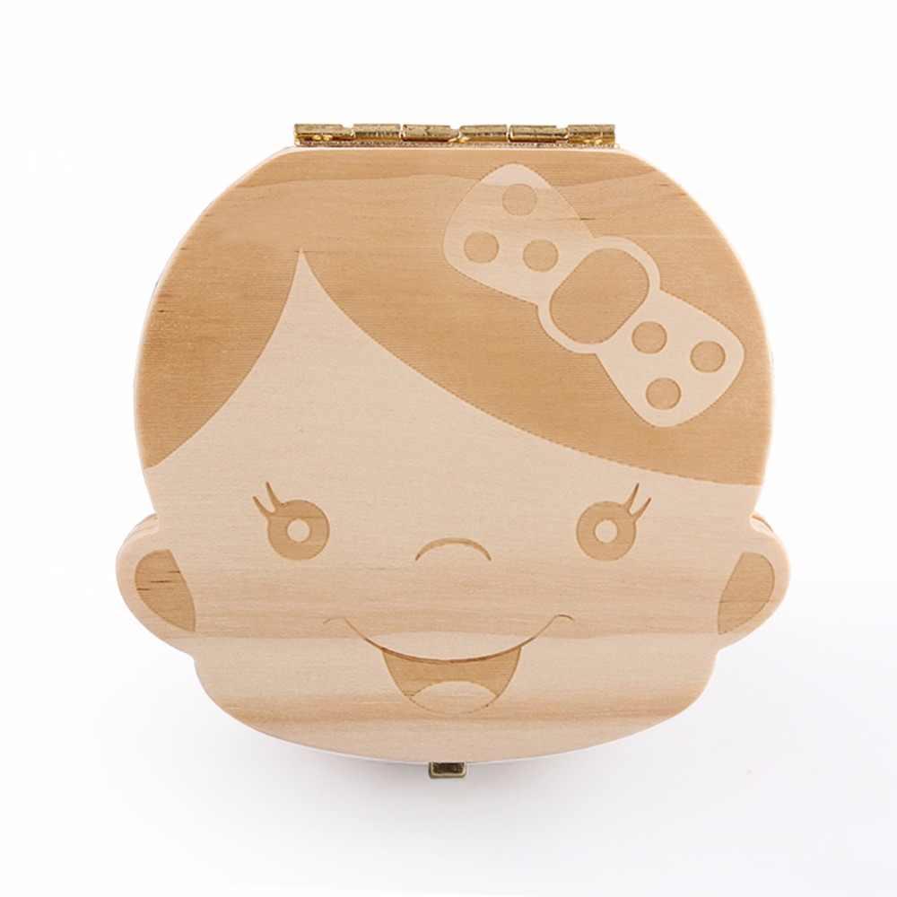 Коробка для зубов Испанский/английский/голландский/Португальский/французский/Польша/детское дерево коробка для зубов Органайзер коробка для хранения молочных зубов