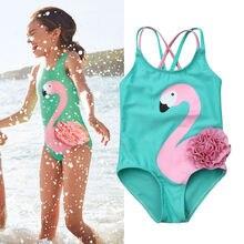 Одежда для маленьких девочек, купальник-бикини с фламинго, пляжная одежда, купальный костюм