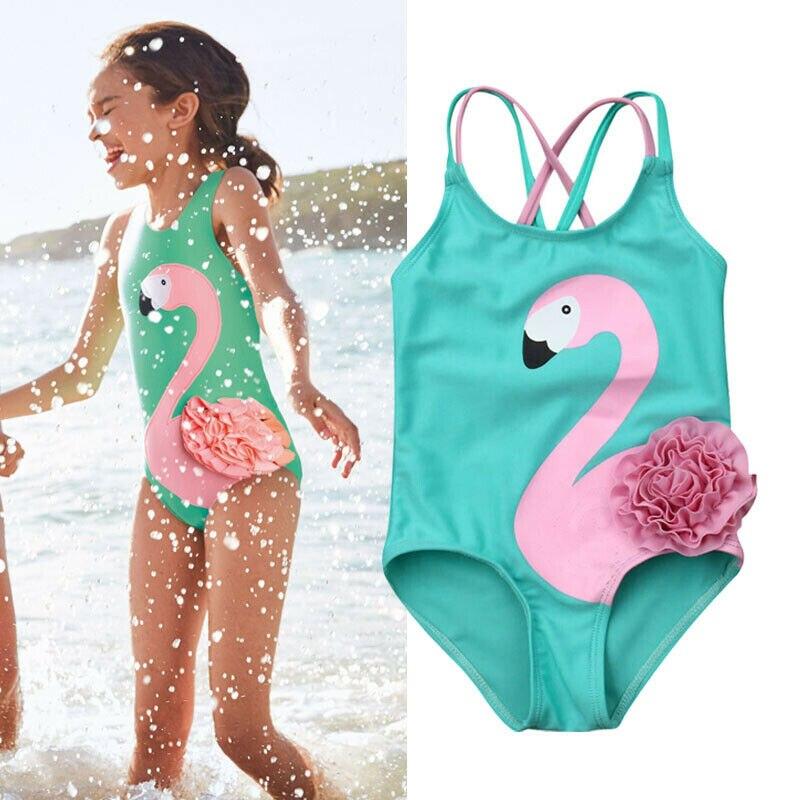 Toddler Kids Baby Girl Clothes Flamingo Bikini Swimwear Swimsuit Beachwear Bathing Suit